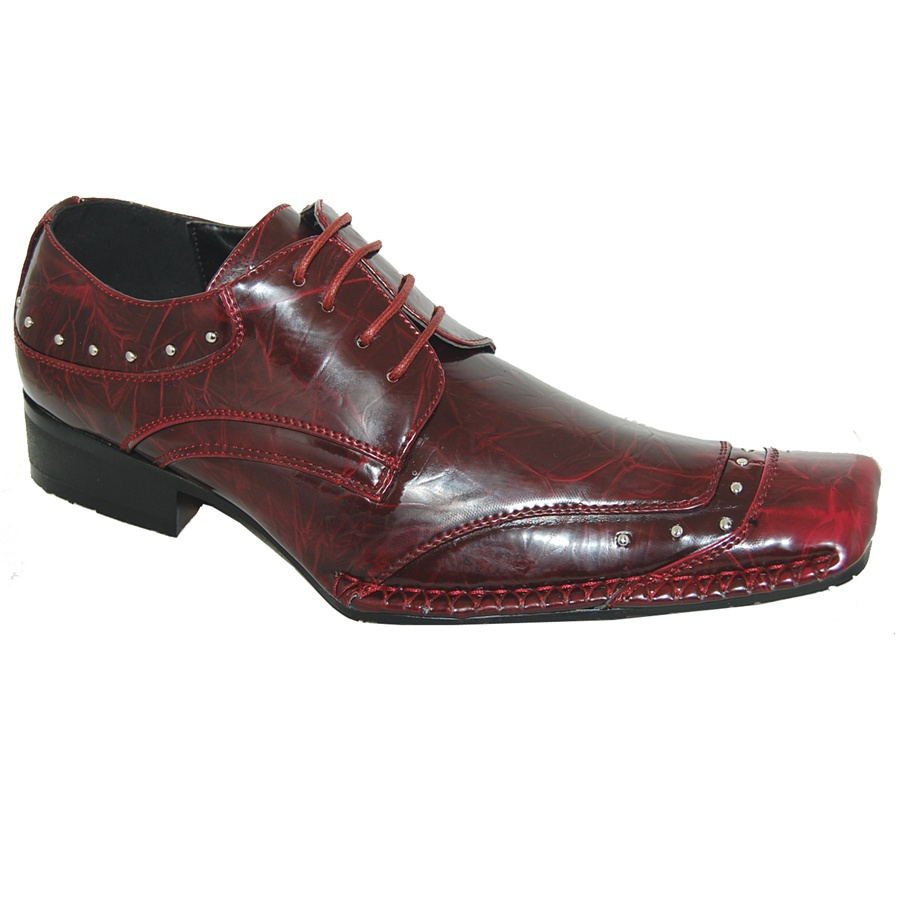 Ruby Red Pearlescent Fashion Lace Up Shoe For Men