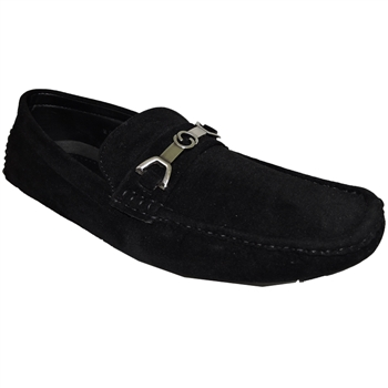 A Shoe Factory Black Knight Sleek Suede Driving Loafers For Men