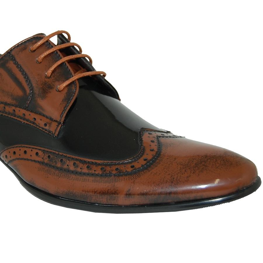 classic patent wingtip shoe in brown black
