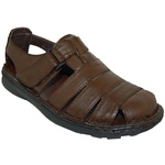 CLOSE BACK SANDAL WITH VELCRO STRAPS IN BROWN