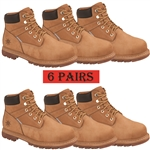 "GLOBALWIN 6"" 6 Pack Genuine Leather Water Resistant Safety Steel Toe Work Boot, Wheat Color"