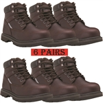 "GLOBALWIN 6"" 6 Pack Genuine Leather Insulated Brown Safety Steel Toe Work Boot"