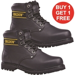 "KINGSHOW 6"" Genuine Leather Insulated Black Safety Soft Toe Work Boot"