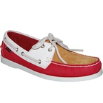 American Footwear Leather White Gold Red True Moc Boat Shoe