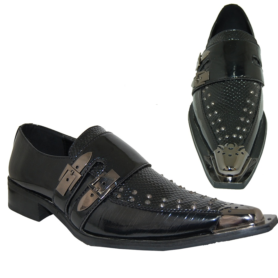 latest design hot-selling fashion official shop FACTORY MADE TO ORDER ROCK & ROLL EXOTIC MEN'S DRESS SHOE IN BLACK