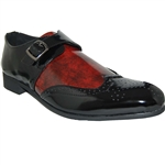Classic Weave Wingtip Men Shoe In Black/ Red