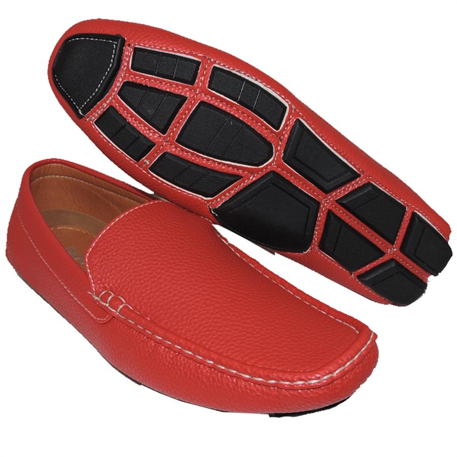 Shoe Factory: A SHOE FACTORY SIMPLE BUT PLAIN RED SLIP-ON FOR MEN