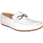 KRAZY SHOE ALL WHITE MEN DRIVING SHOES