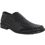 DESIGNER SHOE FACTORY MILO BLACK ART OF SHOES SLIP ON FOR MEN WITH STYLE