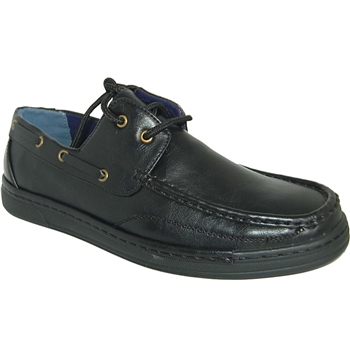 ART OF SHOES BLACK FASHION FORWARD BOAT SHOES FOR MEN
