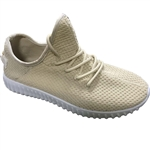 Republic Shoes | Women Beige Lightweight Lace Up Fashion Runner's Sneaker