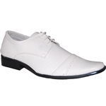 Art of Shoes Siin Men Classic Cap Toe Lace-up Shoe in white
