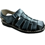 REPUBLIC | KRAZY SHOES ARTISTS CLOSE BACK SANDAL WITH VELCRO STRAPS IN BLACK