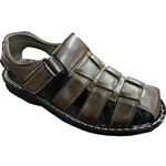 REPUBLIC | KRAZY SHOES ARTISTS CLOSE BACK SANDAL WITH VELCRO STRAPS IN COFFEE