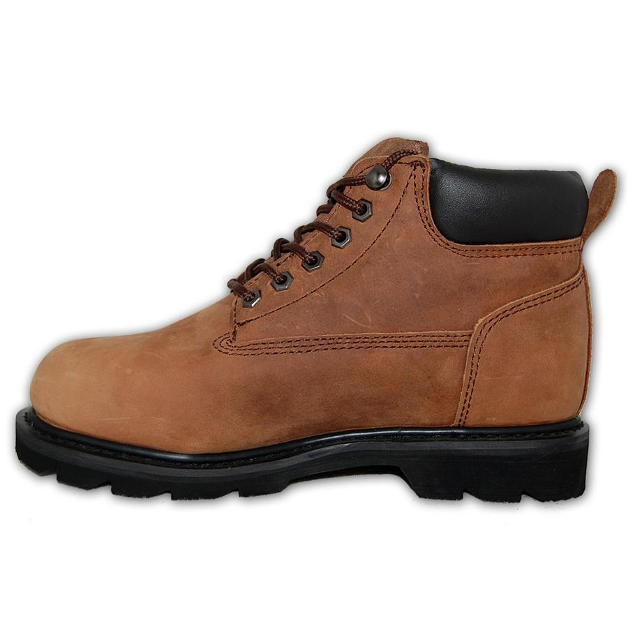 Dark Brown Leather Steel Toe Work Boot