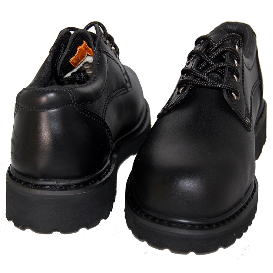 BLACK LEATHER OXFORD RUGGED SHOE