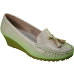 Republic Shoes | Women's Casual Slip On Wedge Loafer with Tassels