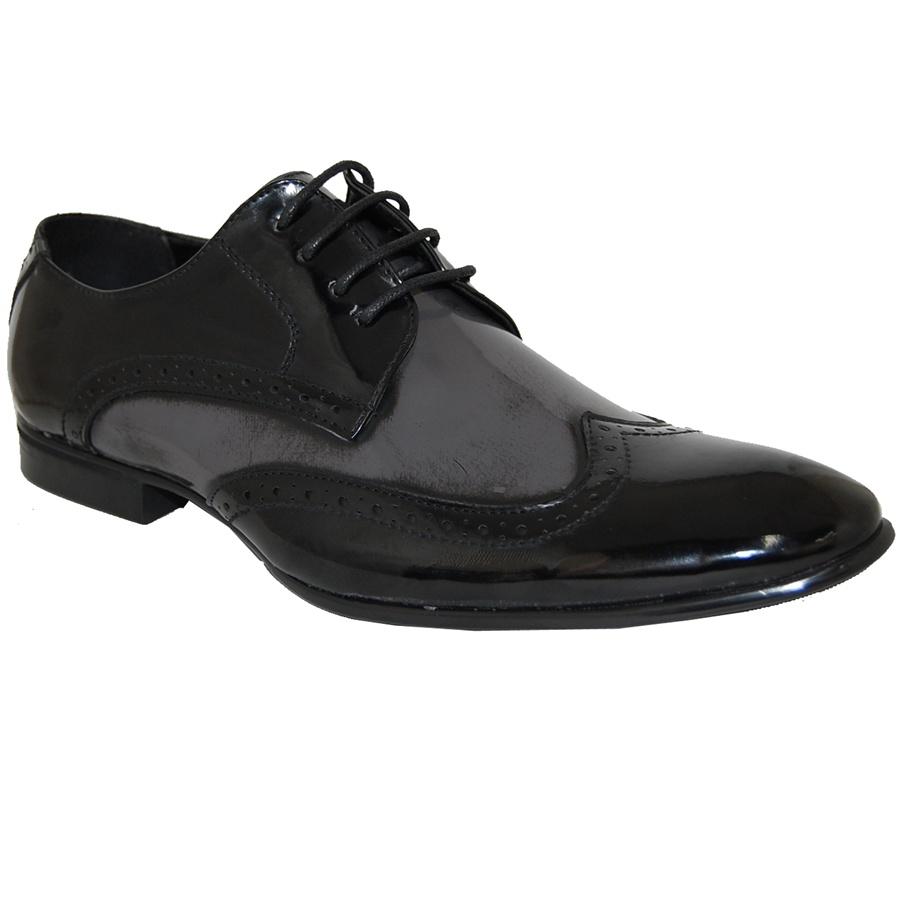 8968b0279d184 Classic Patent Wingtip Men Shoe In Black/ Grey